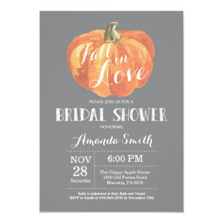 Fall Bridal Shower Invitation Card Grey