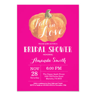 Fall Bridal Shower Invitation Card Hot Pink