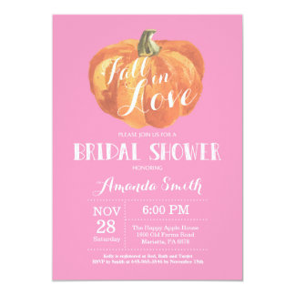 Fall Bridal Shower Invitation Card Pink