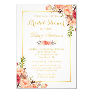 Fall Bridal Shower Rustic Orange Floral Chic Gold 13 Cm X 18 Cm Invitation Card