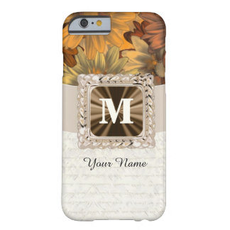 Fall brown floral personalized monogram barely there iPhone 6 case