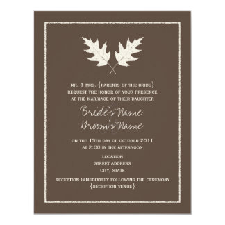 Fall Brown Wedding Invitation - Oak Leaf Rubbing