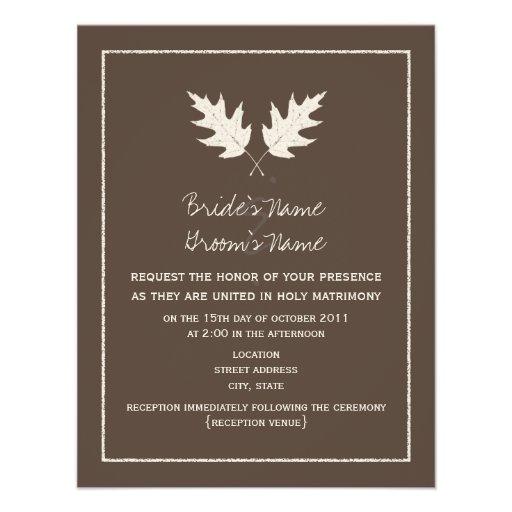 Fall Brown Wedding Invitation - Oak Leaf Rubbing