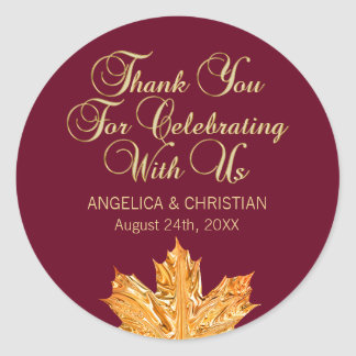 Fall Burgundy Gold Maple Leaf Thank You Wedding Classic Round Sticker