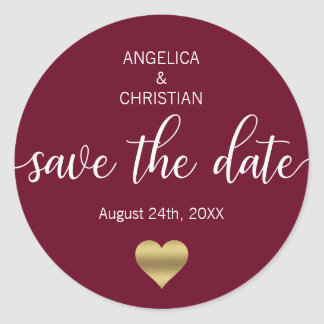 Fall Burgundy Marsala Gold SAVE THE DATE Wedding Classic Round Sticker