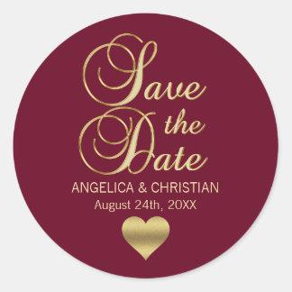 Fall Burgundy Marsala Gold SAVE THE DATE Wedding Classic Round Sticker
