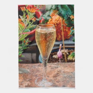 Fall Champagne Celebration Tea Towel