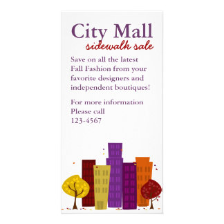Fall Cityscape Personalised Photo Card