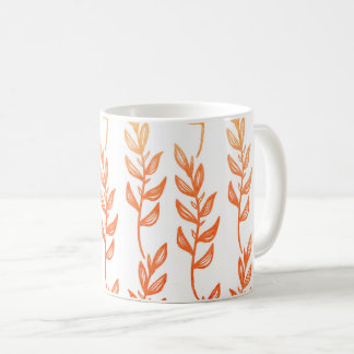 Fall Coffee Mug - Ombre Leaves Abstract Orange Red
