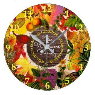 Fall Collage Autumn Leaves Monogram Vintage Wood Large Clock
