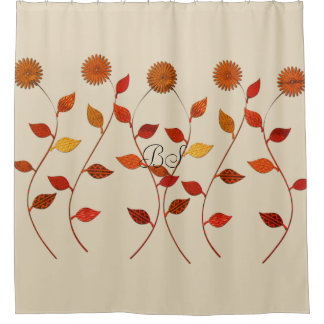 Fall Collection Floral Beige Add Initials Shower Curtain