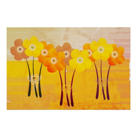 Fall Collection Orange Bouquet Collage Poster