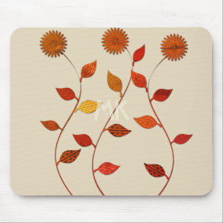 Fall Collection Orange Red Leaf Flower Mousepad