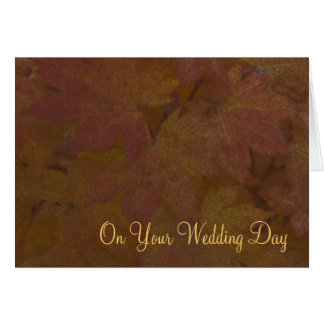 Fall Colored Maple Leaves Blended Family Wedding Card