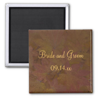 Fall Colored Maple Leaves Wedding Square Magnet