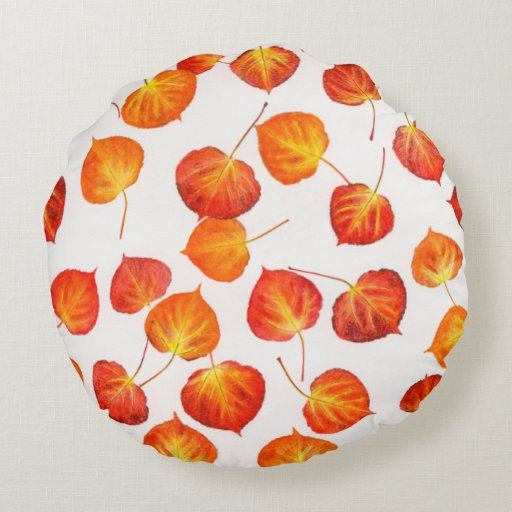 Fall Colors Aspen Leaf Pattern Round Pillow