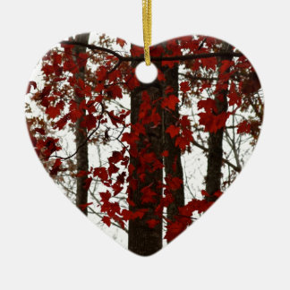 Fall Colors Autumn Trees Red Canadian Maple Leaves Ceramic Heart Decoration