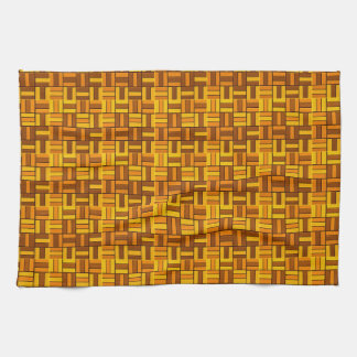Fall colors, ceramic-look tiled pattern kitchen towel