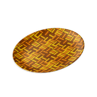 Fall colors, ceramic-look tiled pattern porcelain plate