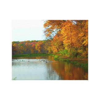 Fall Colors - Geese On The Lake - Nature Scenery Canvas Print