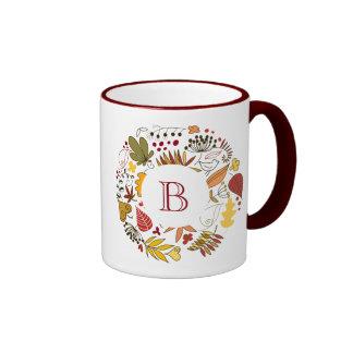 Fall Colors Leafs Circle Illustration Ringer Mug