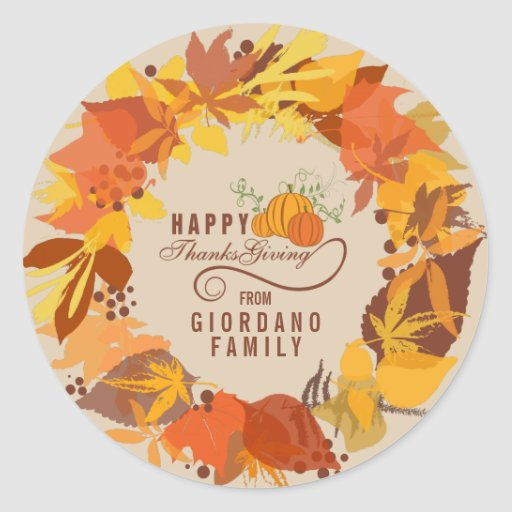 Fall Colors Leafs Thanks Giving Wreath Sticker