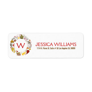 Fall Colors Leafs Thanksgiving Wreath Return Address Label