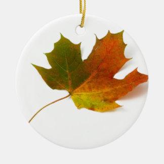 Fall Colors Maple Leaf Round Ceramic Decoration