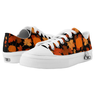 fall colors maple leaves and pumpkins low tops