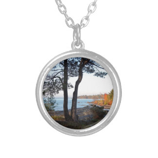 Fall Colors St Joseph Island stopover Silver Plated Necklace