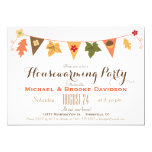 Fall Colour Leaves Bunting Flag Housewarming Party 13 Cm X 18 Cm Invitation Card