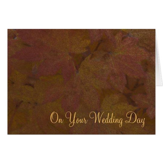 Fall Coloured Maple Leaves Blended Family Wedding Card