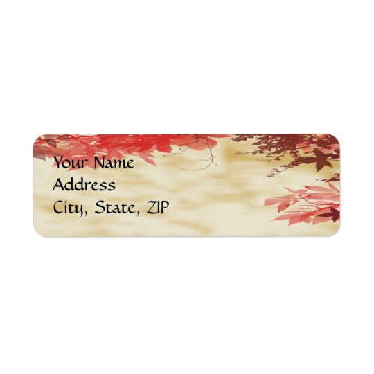 Fall Colours: Burgandy and Red Branches on Ecru Return Address Label