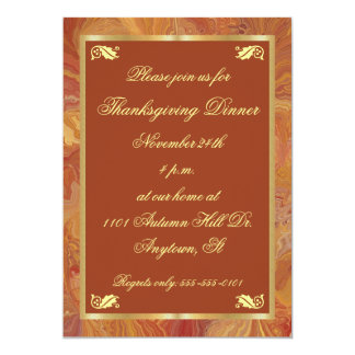 Fall Colours Marbled Paper Thanksgiving Invitation