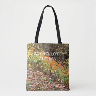 fall colours on tote bag