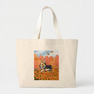 Fall Corgi Large Tote Bag