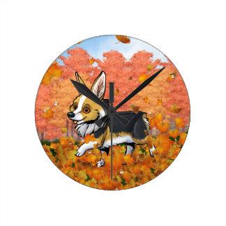 Fall Corgi Round Clock