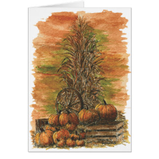 Fall Corn and Pumpkins Blank Card