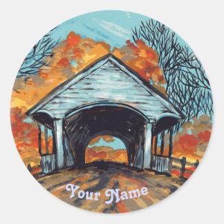 Fall Covered Bridge custom name round sticker