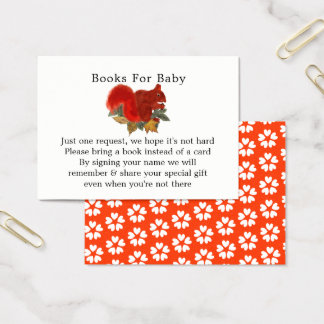 Fall Cute Red Squirrel Baby Shower Books for Baby Business Card