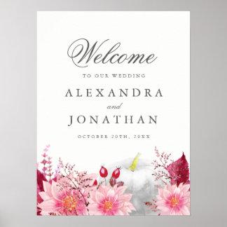 Fall Dahlia and Pumpkin Wedding Welcome Poster