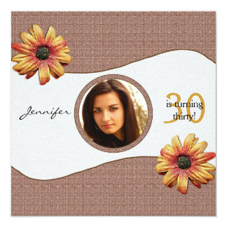 Fall Daisy on Brown Weave Birthday 5.25x5.25 Square Paper Invitation Card