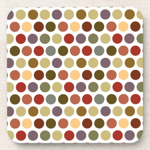 Fall Earth Tones Color Polka Dots Pattern Drink Coasters