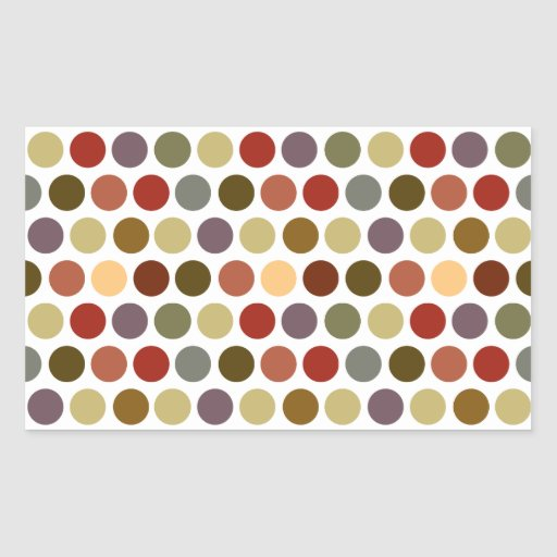Fall Earth Tones Color Polka Dots Pattern Rectangle Stickers