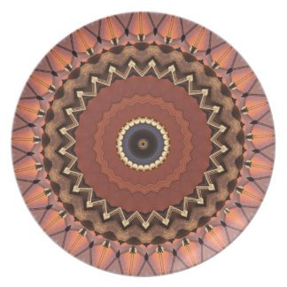 Fall Earth Tones Mod Geometric Contemporary Plate