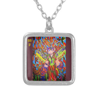 fall fairy art silver plated necklace