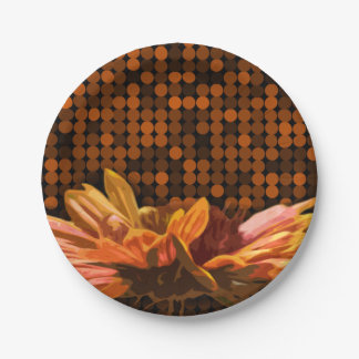 Fall Floral Colours Autumn Rustic Design Flowers 7 Inch Paper Plate