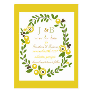 Fall Floral Save the Date Postcard