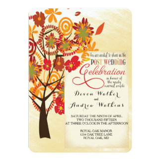 Fall Floral Tree Wedding Reception Only Invitation