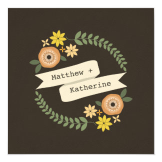 Fall Floral Wreath Wedding From Bride's Parents Card